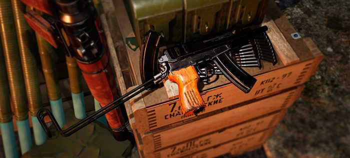 A render of the Skorpion resting on top of several crates of ammunition